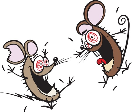 caffeine: Two crazy cartoon mice  Layered vector and high resolution jpeg files