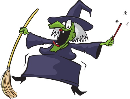 hag: Cartoon crazy witch  Vector