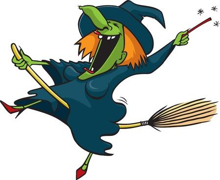 strega che vola: Cartoon vettore strega pazza