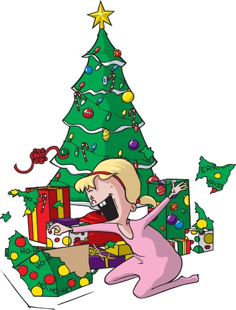 Cartoon of an excited Girl on Christmas morning  layered vector and high resolution jpeg files available  Stock Vector - 16493951