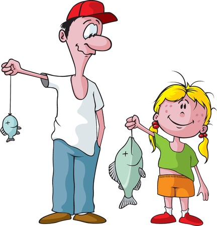 cartoon fishing: Cartoon of a Dad and his Daughter on a fishing trip  Layered vector and high resolution jpeg files available