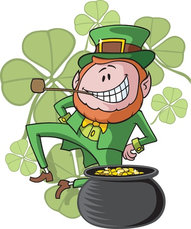 Cartoon dancing Leprechaun  Vector and high resolution jpeg files available  Leprechaun, pot and clovers on separate layers  Illustration