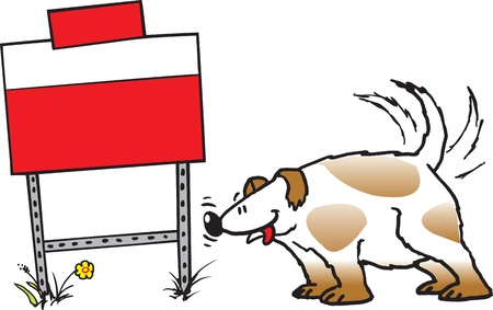 smelling: A cartoon Dog sniffing a sign  The sign is blank, put what you want on it  Vector and high resolution raster files available  Illustration
