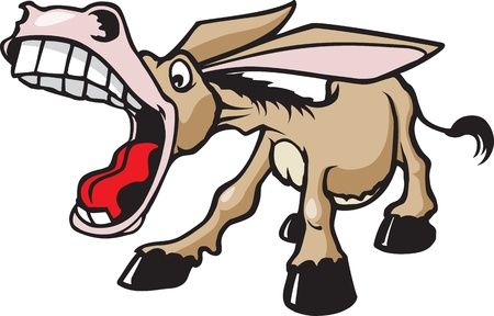 A cartoon braying Donkey  Vector and high resolution files are available