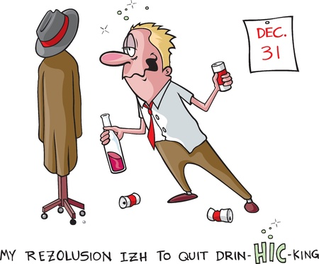 drunk party: A vector cartoon of a heavy drinker and his New Years resolution to quit  Man, coat rack, cans and calander are all on separate layers  Illustration