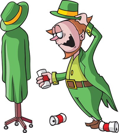 tipsy: Cartoon Leprechaun  Vector and high resolution jpeg files available  Leprechaun, coat rack and cans are on separate layers
