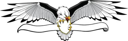 Geïllustreerde Eagle met banner wat je wilt Zet op banner kunst en Hi res rasterbestanden beschikbaar
