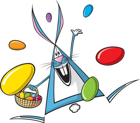 Cartoon Easter Bunny   and high resolution files available  Bunny and eggs are on separate layers Stok Fotoğraf - 16513656
