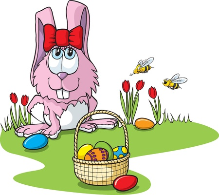 Cartoon Easter Bunny with bees   and high resolution files available  Bunny,bees,eggs,basket, grass and bow are all on separate layers  Vector