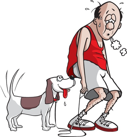A cartoon jogger and his dog after they are done jogging   and high resolution raster files available