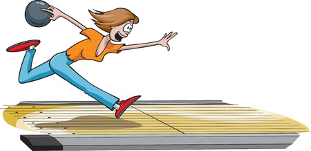 A cartoon female bowler throwing the ball down the lane  Lane and woman are on separate layers   and high resolution raster files available  Vector