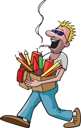 A cartoon man carrying a bag full of fireworks while smoking a cigarette   and high resolution raster files available  Illustration