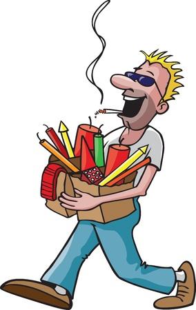 Un homme de dessin animé avec un sac plein de feux d'artifice tout en fumant une cigarette et haute résolution disponible fichiers raster Vecteurs