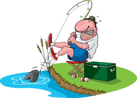 A cartoon fisherman catches a tire  Layered  file and high res jpeg available  Fisherman, cooler, grass, water, cans,and cattails are all on separate layers