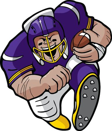 Cartoon football running back en Hi res rasterbestanden beschikbaar