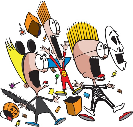 a group of frightened cartoon children on Halloween   and high resolution jpeg files are available  Illustration
