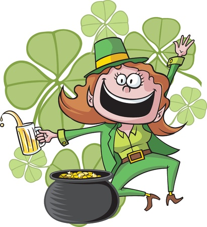 high resolution jpeg files available  Leprechaun, pot and clovers on separate layers  Vettoriali