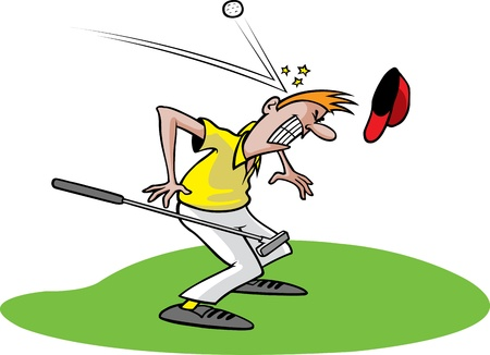 cartoon accident: Cartoon of an unlucky golfer  Layered  and high resolution jpeg files available