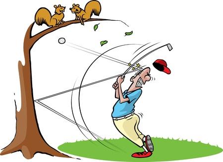 Cartoon van een ongelukkige golfer Gelaagde en hoge resolutie jpeg-bestanden beschikbaar