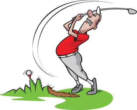 columpios: Caricatura de un desafortunado golfista en capas y de alta resoluci�n de los archivos JPEG disponibles