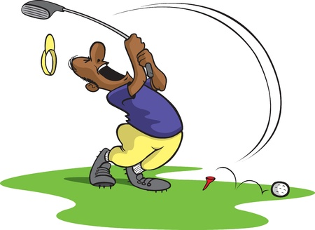 bad: Cartoon of an unlucky golfer  Layered  and high resolution jpeg files available