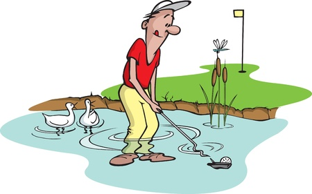 golf swings: Cartoon of an unlucky golfer  Layered  and high resolution jpeg files available