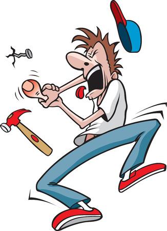 Chico golpea el pulgar con el martillo de la historieta de un hombre que acaba de golpear el pulgar con un martillo Ilustración de vector