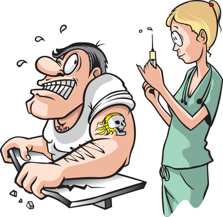 vaccination: Nurse and strong Man  A cartoon of a nurse about to give a shot to a scared adult muscle bound male