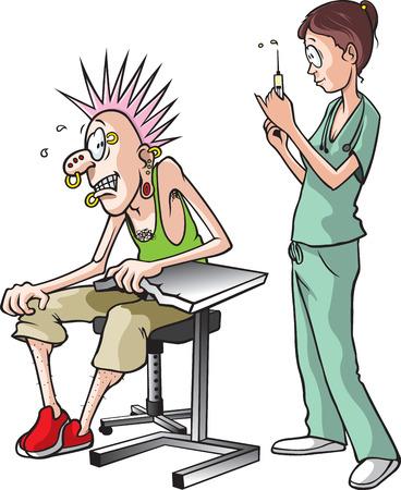 ESQUEMA DE VACUNACION: Enfermera y Pierce Una historieta de una enfermera a punto de dar un tiro a un hombre adulto asustado Vectores