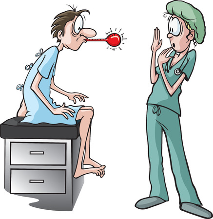Nurse and thermometer  A cartoon nurse and patient