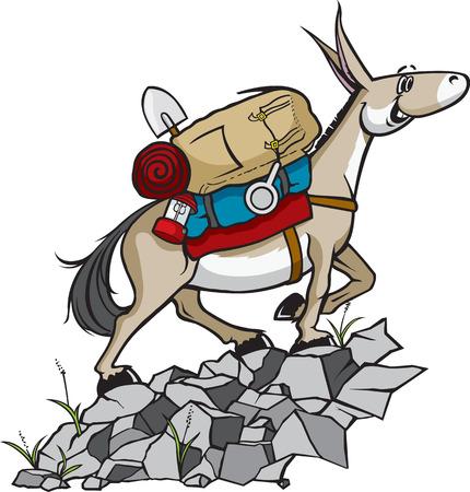 hiking trail: Pack Mule  A cartoon Pack Mule with gear