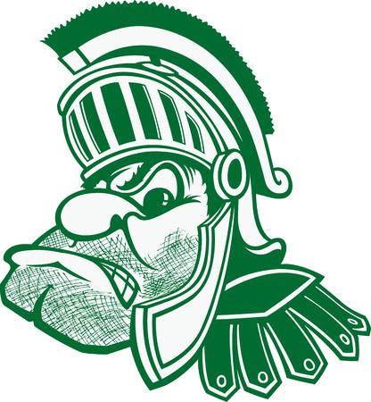 Spartan Een cartoon buste van een Spartan met helm en pluim Stock Illustratie