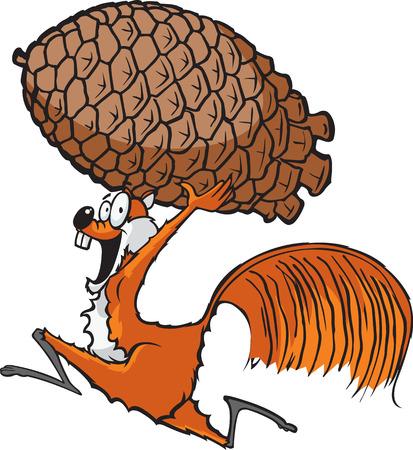 Eekhoorn met Pinecone Een cartoon eekhoorn lopen met een dennenappel
