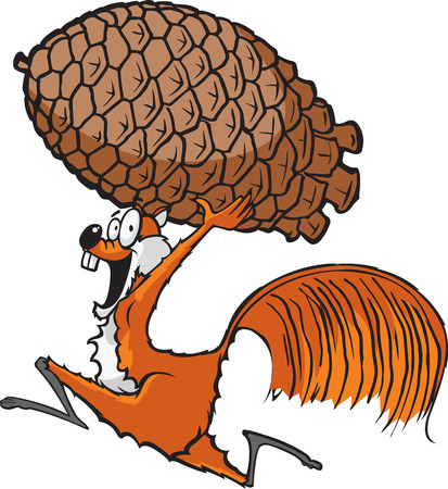 Squirrel with Pinecone  A cartoon squirrel running with a pinecone