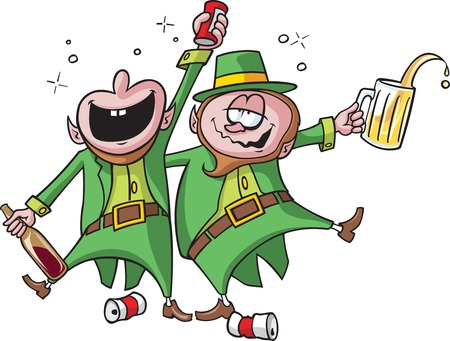 Party Leprechauns  Vector and high resolution jpeg files available  Leprechauns, bubbles and cans are on separate layers