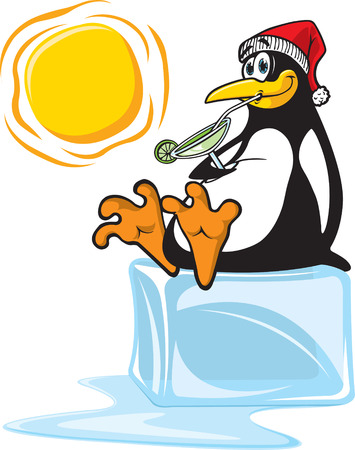 A penguin, sipping on a margarita and sitting on a block of Ice  Vector and high resolution raster files available