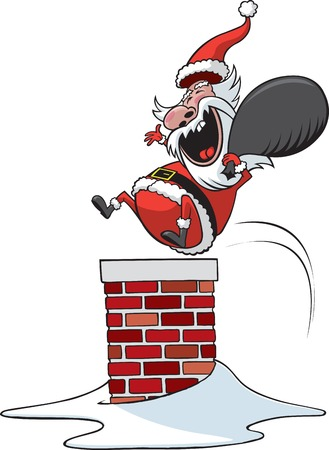 A cartoon Santa Clause jumping down chimney  Vector and high resolution raster files available  Illustration