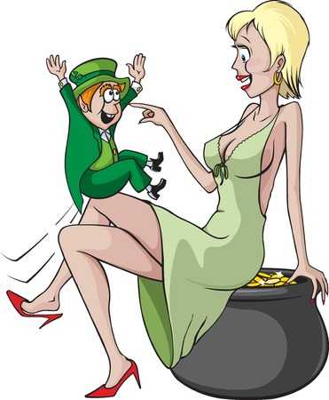 Sexy woman and Leprechaun  Cartoon woman, pot of gold and Leprechaun are all on separate layers  Vector and high resolution jpegs are available
