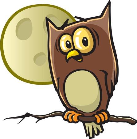 別々 のレイヤーにはハロウィーンのフクロウのベクトルの漫画と高解像度 jpeg ファイルは、利用可能なフクロウと月