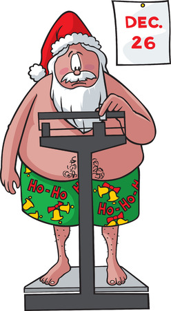 This cartoon Santa has packed on some pounds after binging on cookies and milk  Vector and high resolution jpeg files available