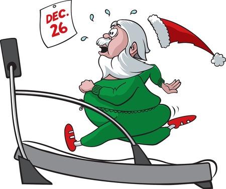 トレッドミルでサンタ ベクトルと高解像度 jpeg ファイル形式では来るこの漫画サンタ