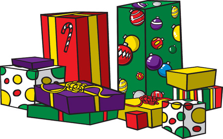 Cartoon Christmas presents  Each present is on it s own layer  Layered vector and high resolution jpgs available also