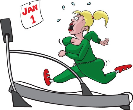 diet cartoon: A cartoon woman on a treadmill  Woman and treadmill on separate layers  Vector and high resolution jpg files available