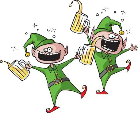 borracho: Un par de dibujos animados Elfos celebración de las fiestas Cada duende está en lo s propios archivos jpeg de alta resolución capa separada también disponible