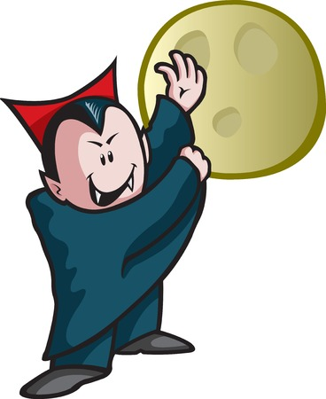 Halloween cartoon Vampire  Vector and high resolution jpeg files available  Vampire and moon are on separate layers