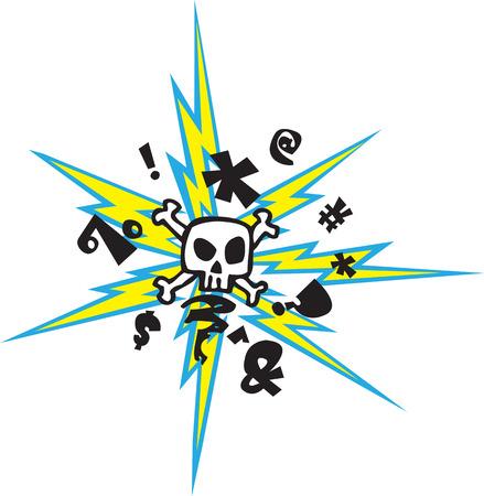maniaco: Un cartone animato cranio pazzo e ossa incrociate con fulmini livelli vettoriali e file jpeg ad alta risoluzione disponibili