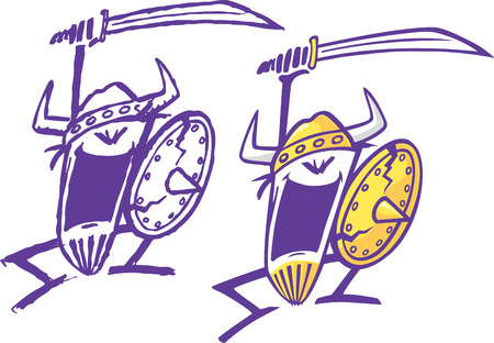 Two abstract cartoon Vikings swinging a sword  One is rendered loosely and the other is cleaned up  Layered and high resolution jpeg files available
