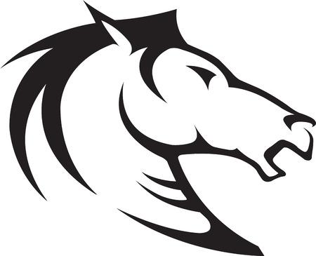 Geïllustreerd Horse Bust Profiel Zwart-wit en hoge resolutie jpeg-bestanden beschikbaar