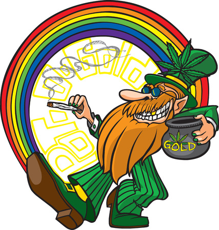 A cool cartoon Leprechaun with his pot of gold man  Layered and high resolution jpeg files available  Vector