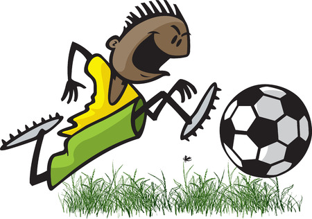 Cartoon of a young male soccer player dribbling a ball  Layered and high resolution jpeg files available